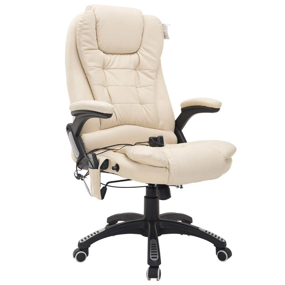 Zennor PU Leather Office Chair with Massage Function - Cream