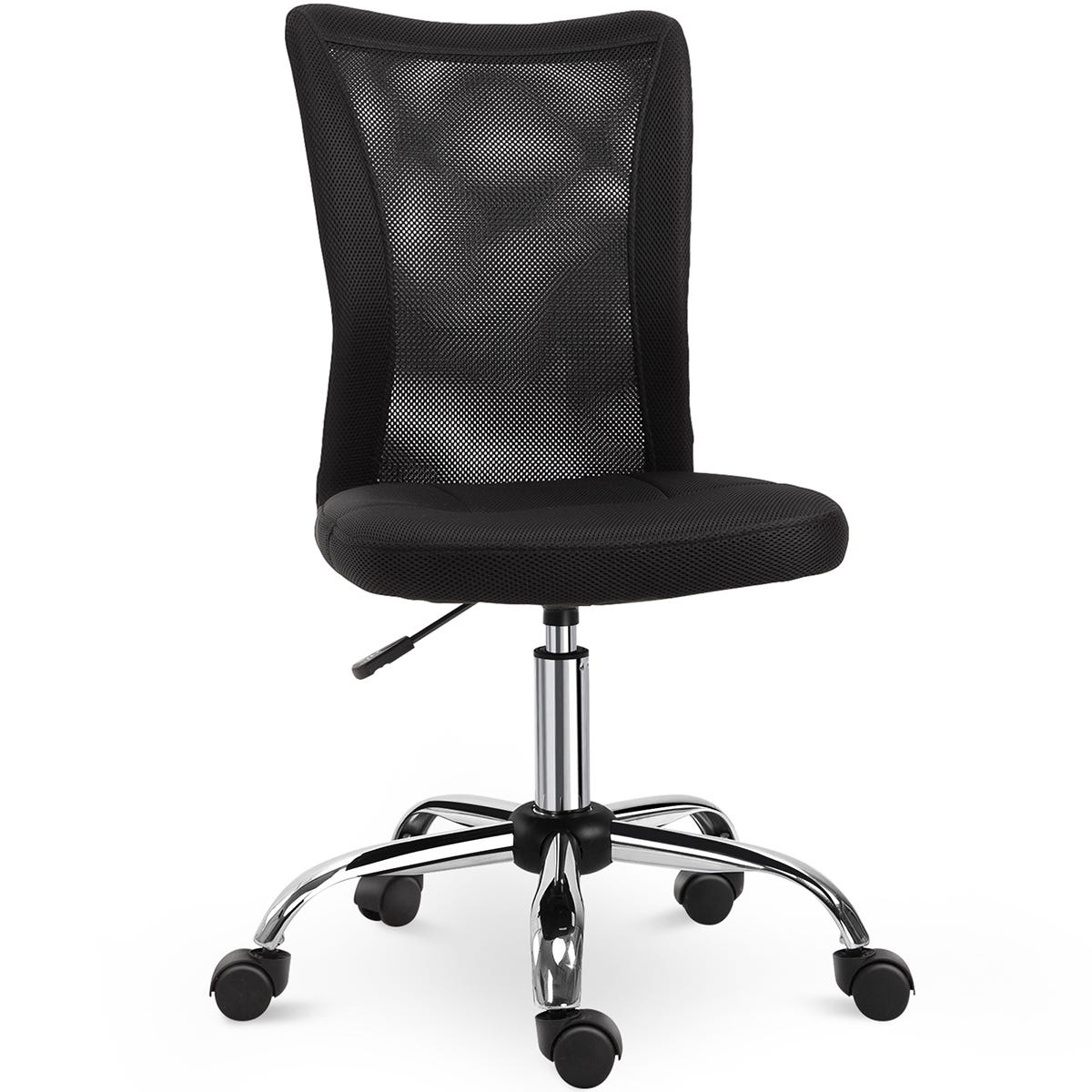 Solstice Armless Ergonomic Mesh Office Chair with Height Adjustable Back - Black