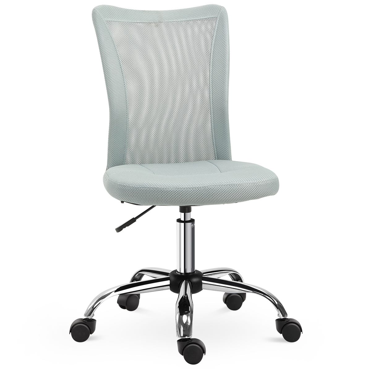Solstice Armless Ergonomic Mesh Office Chair with Height Adjustable Back - Grey