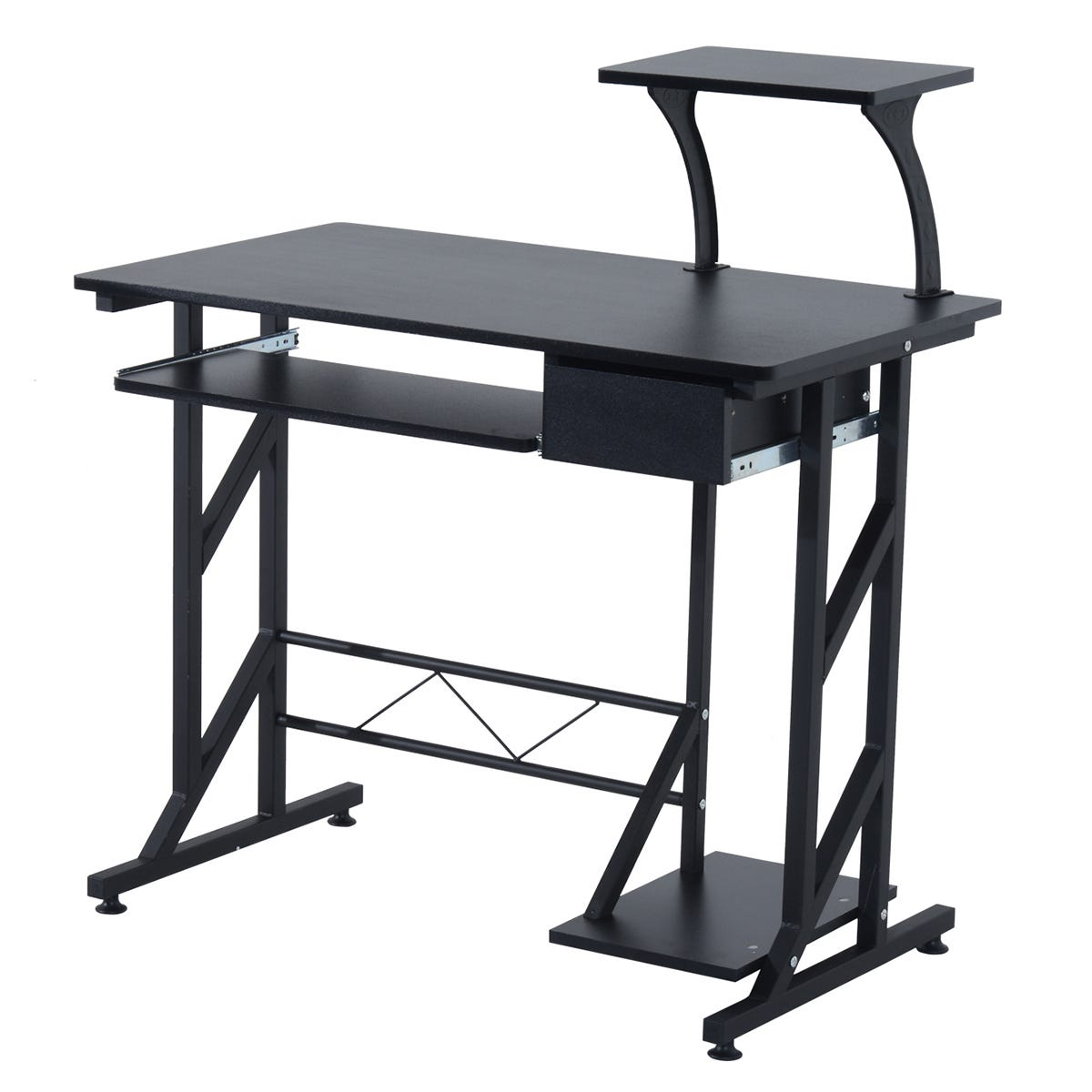 Zennor Space Saving Computer Desk with Storage - Black