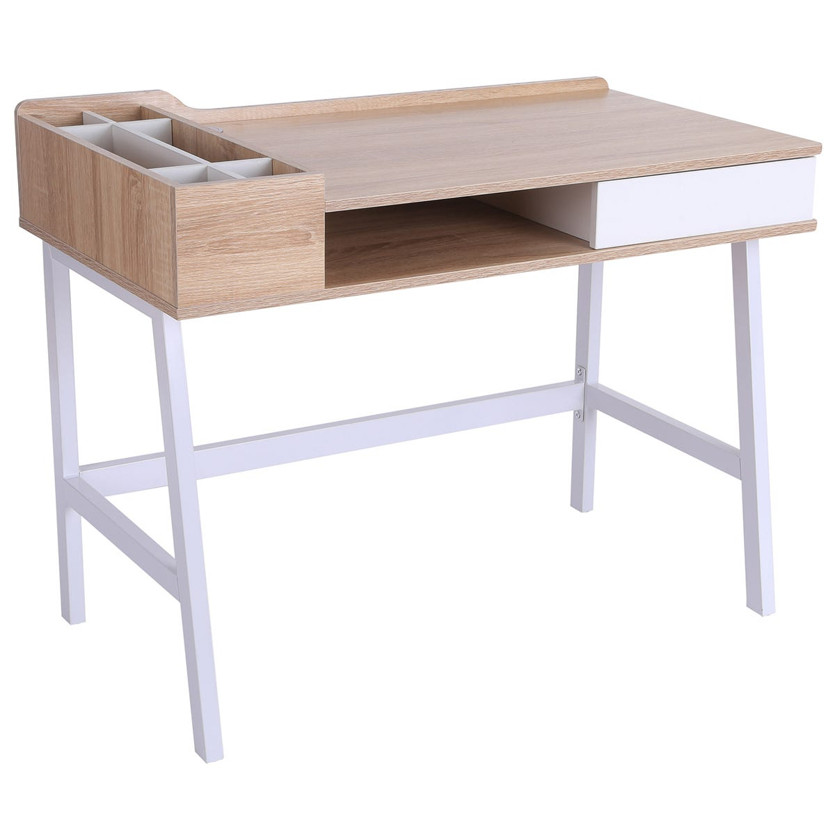 Solstice Atmos Computer Desk with Storage Unit & Metal Frame - White/Oak