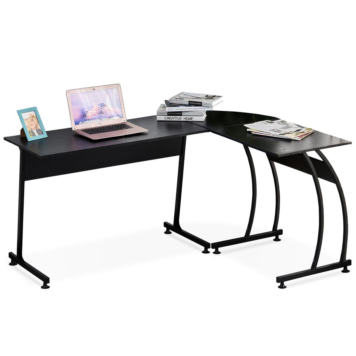 Zennor Roche Gaming L-Shaped Corner Desk with Steel Frame & Adjustable Feet - Black
