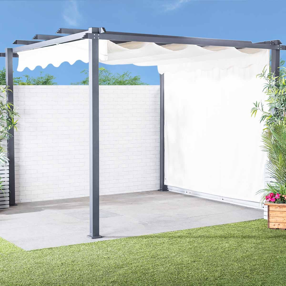 Monaco Metal Gazebo Pergola and Slide Away Sun Shade with 4 Side Panels