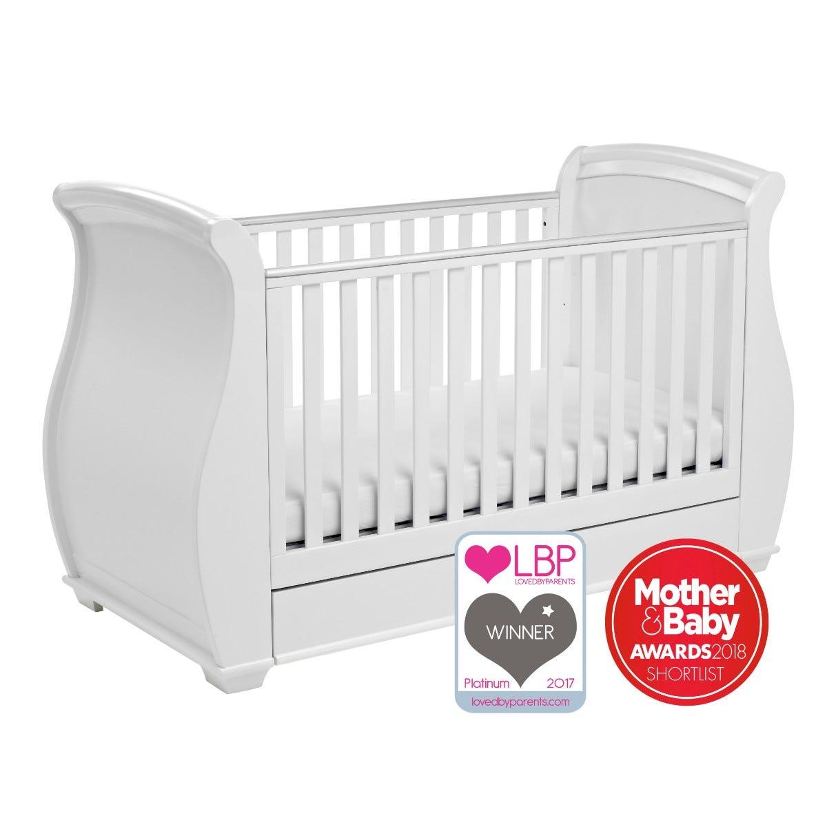 Babymore Bel Drop Side Cot Bed White