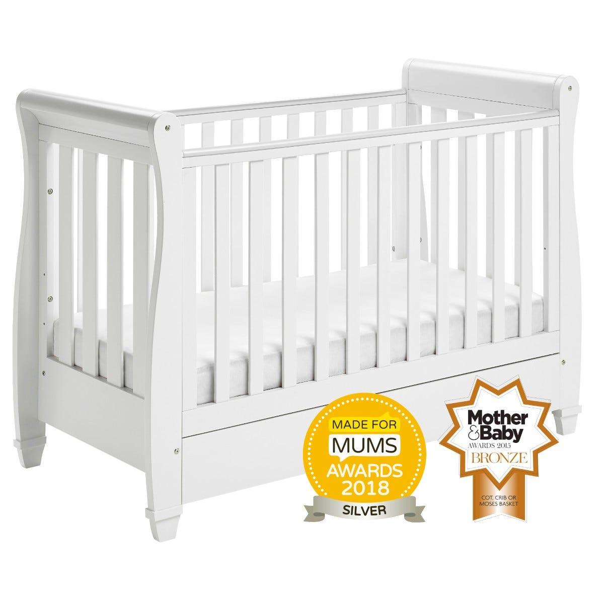 Babymore Eva Drop Side Cot Bed White