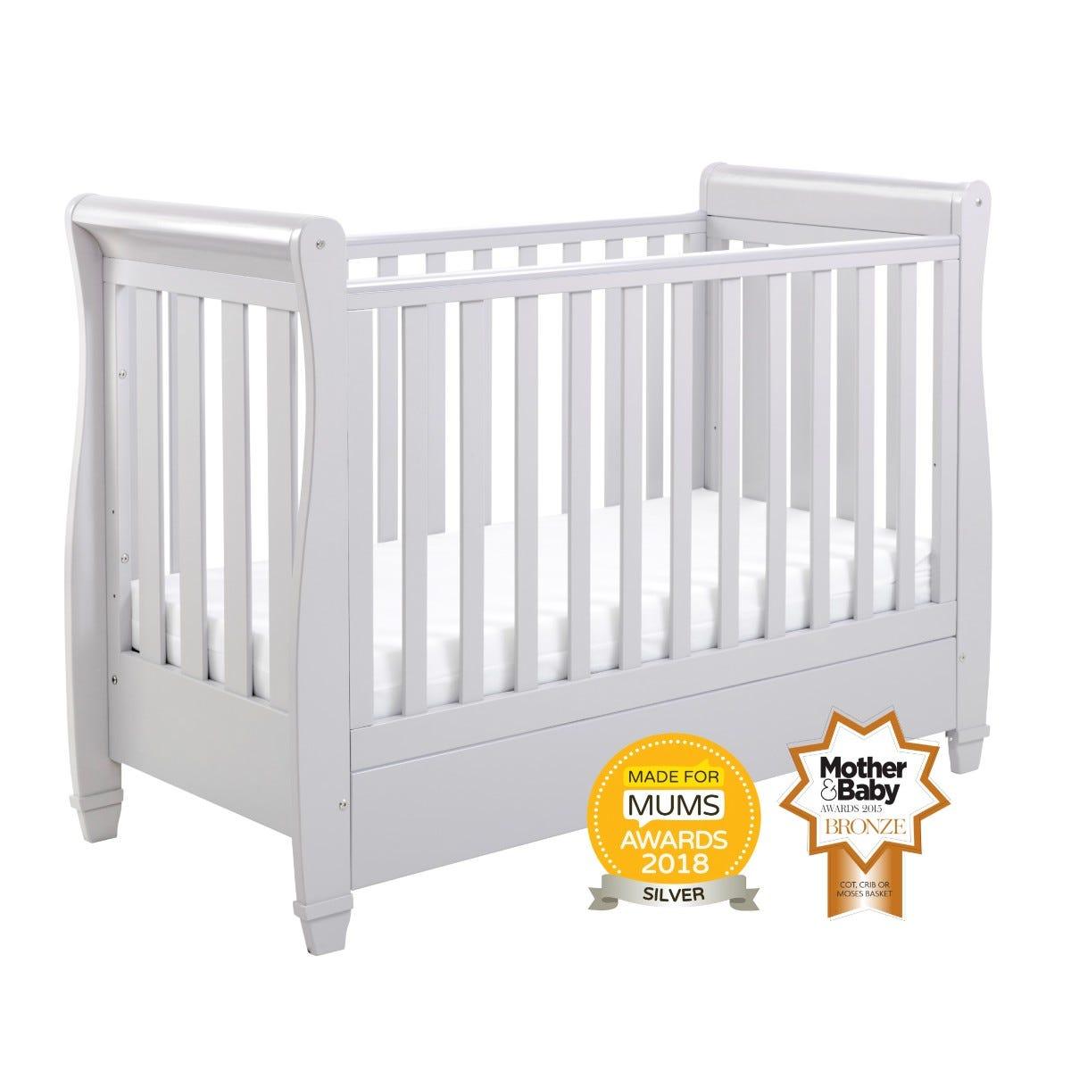 Babymore Eva Drop Side Cot Bed Grey