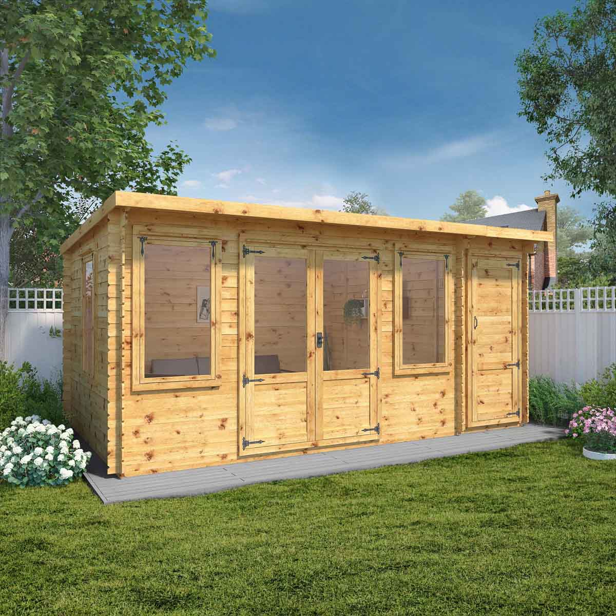 Mercia 5.1m x 3m Pent Log Cabin with Side Shed - 19mm