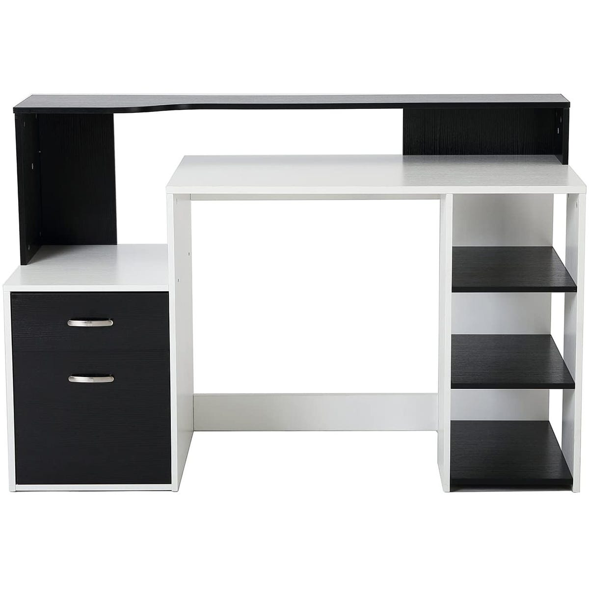 Zennor Galena Multi Level Computer Desk with Shelves & Storage - Black/White