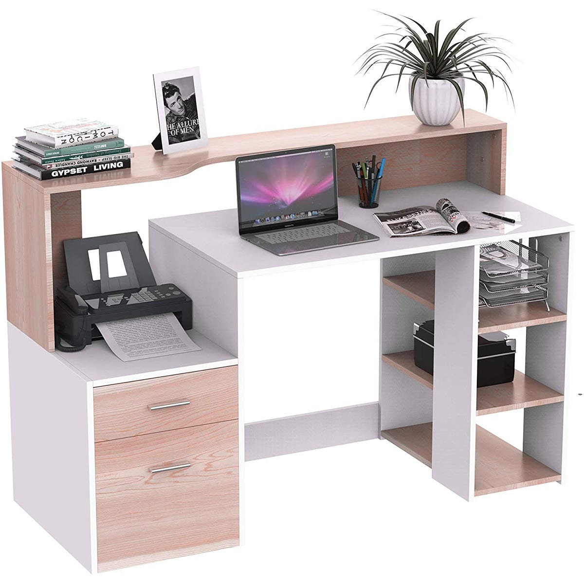 Zennor Galena Multi Level Computer Desk with Shelves & Storage - Oak/White