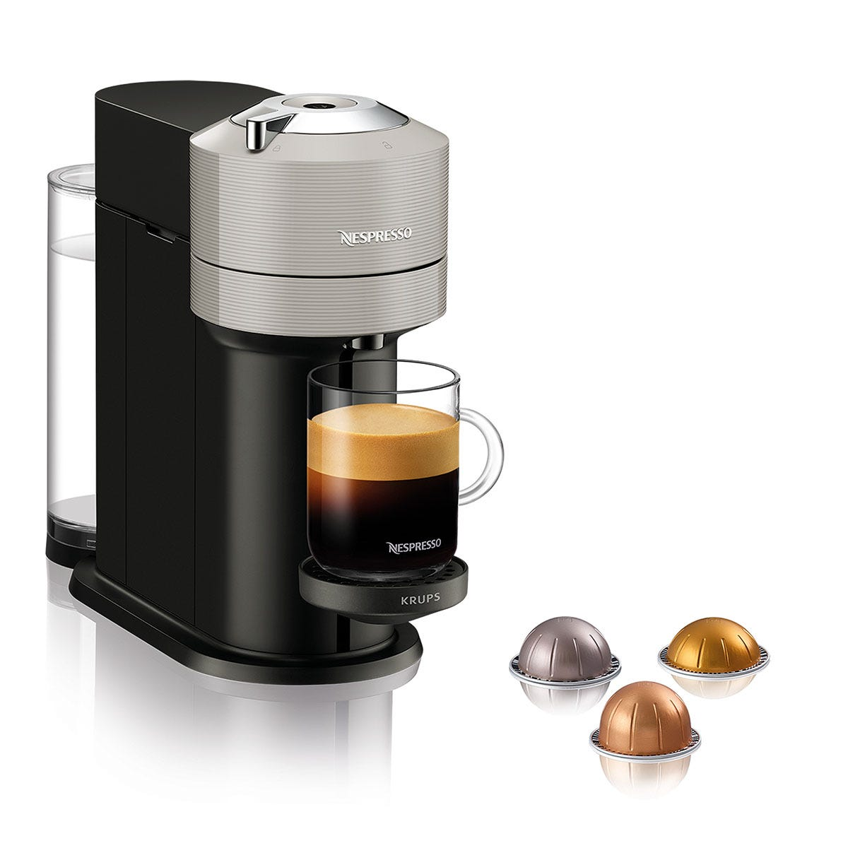 Nespresso Vertuo Krups XN910B40 Coffee Machine, Light Grey - Claim 50 coffee capsules for free when you buy this product