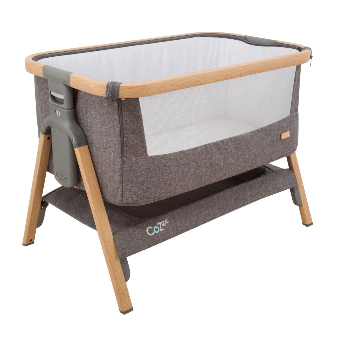 Tutti Bambini CoZee Fold Out Bedside Crib Oak and Charcoal