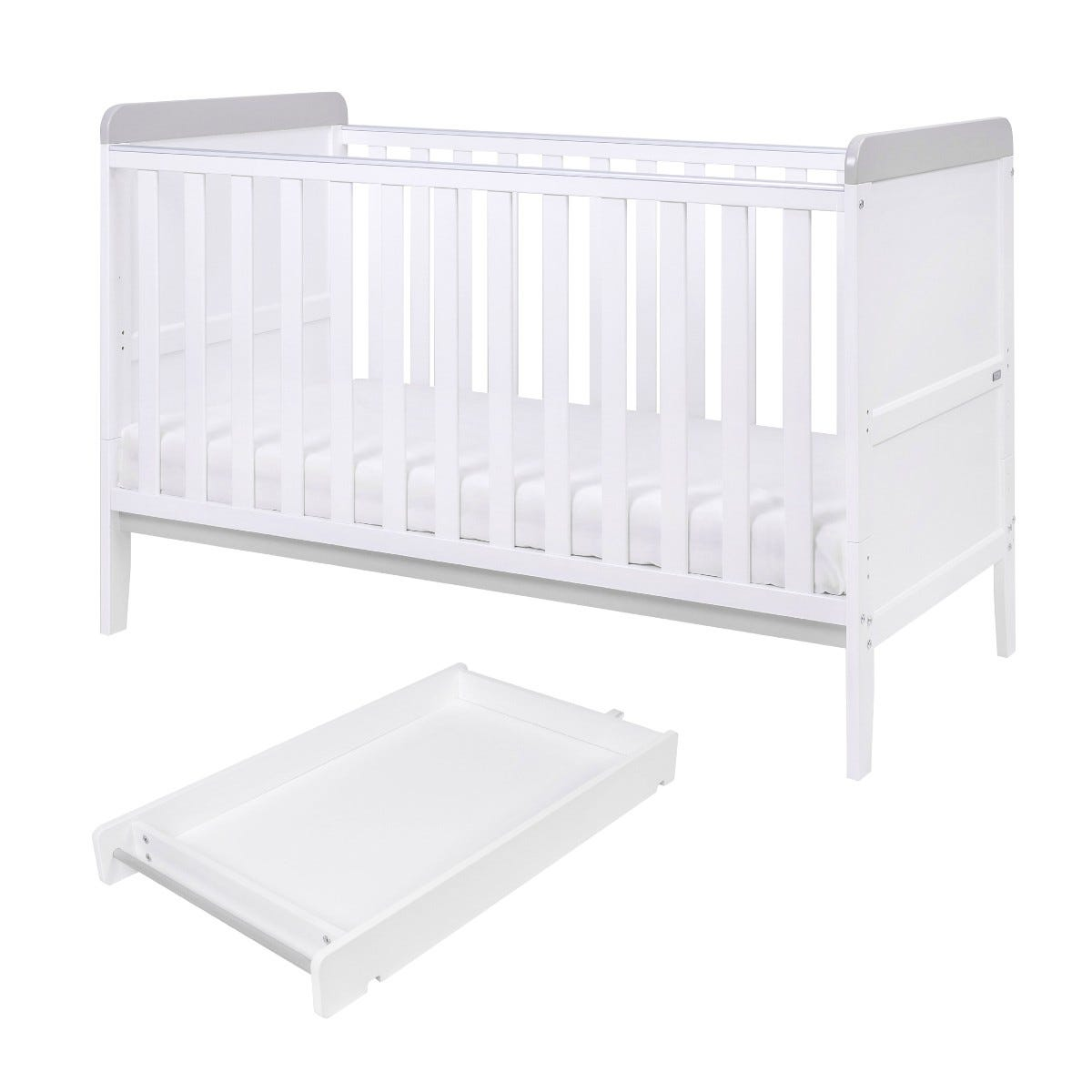 Tutti Bambini Rio Cot Bed with Cot Top Changer & Mattress White and Dove Grey