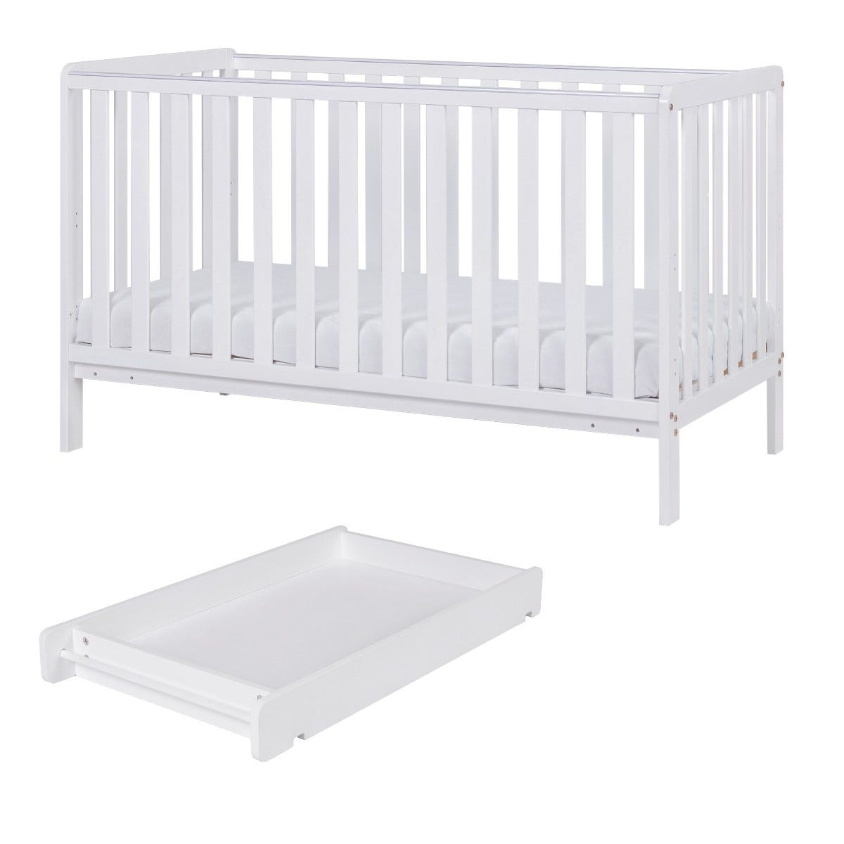 Tutti Bambini Malmo Cot Bed with Cot Top Changer & Mattress White
