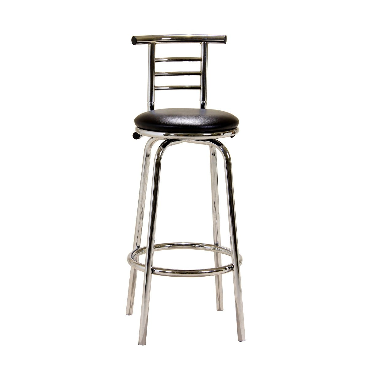 104cm Chrome Bar Stool with Swivel Seat and Backrest