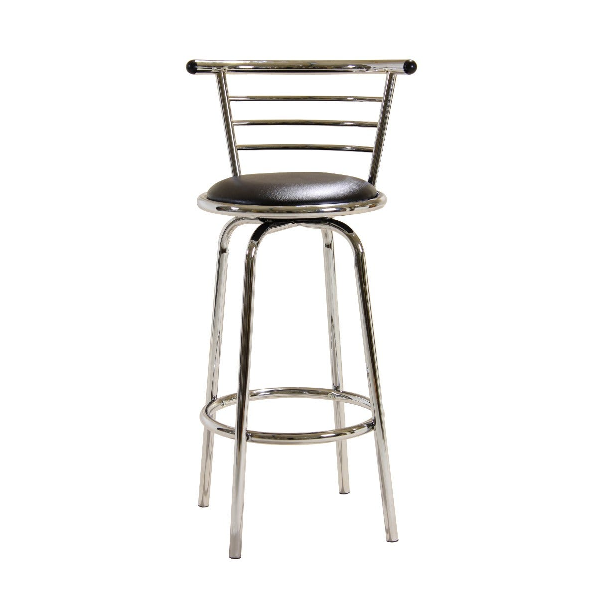 102cm Chrome Bar Stool with Swivel Seat and Wide Backrest