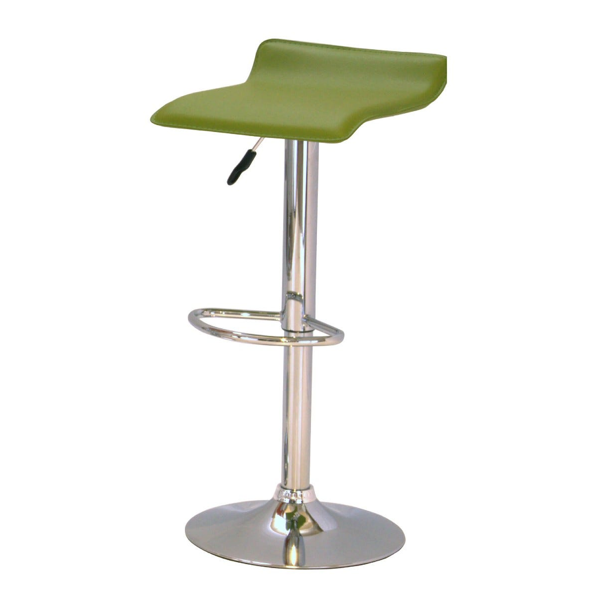Green and Chrome Bar Stool Pair Adjustable Height
