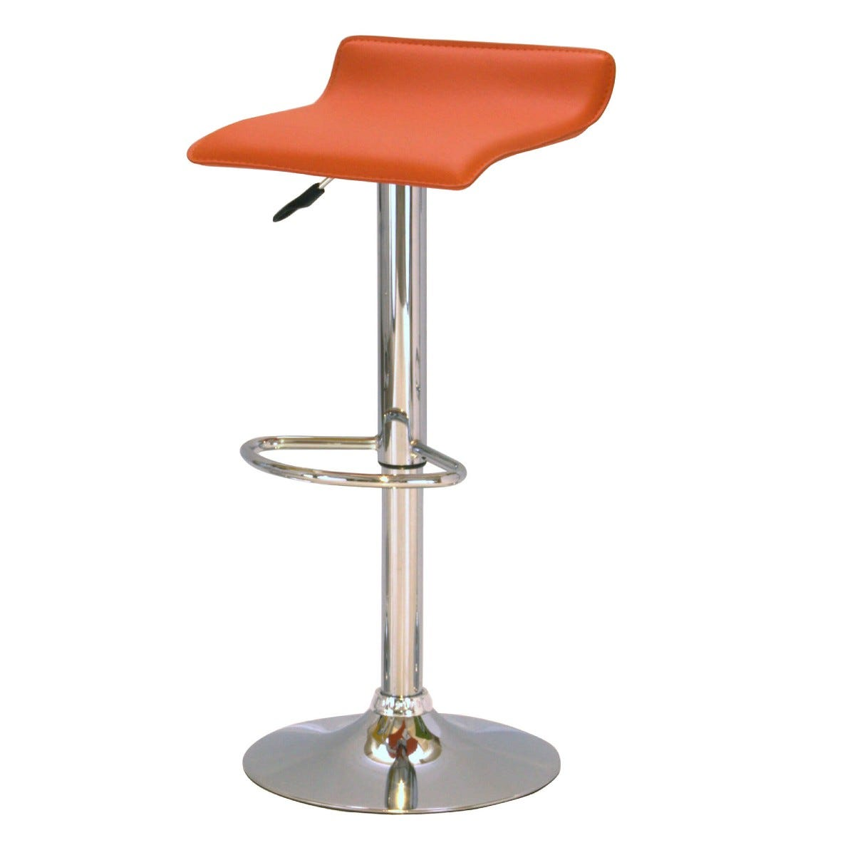 Red and Chrome Bar Stool Pair Adjustable Height