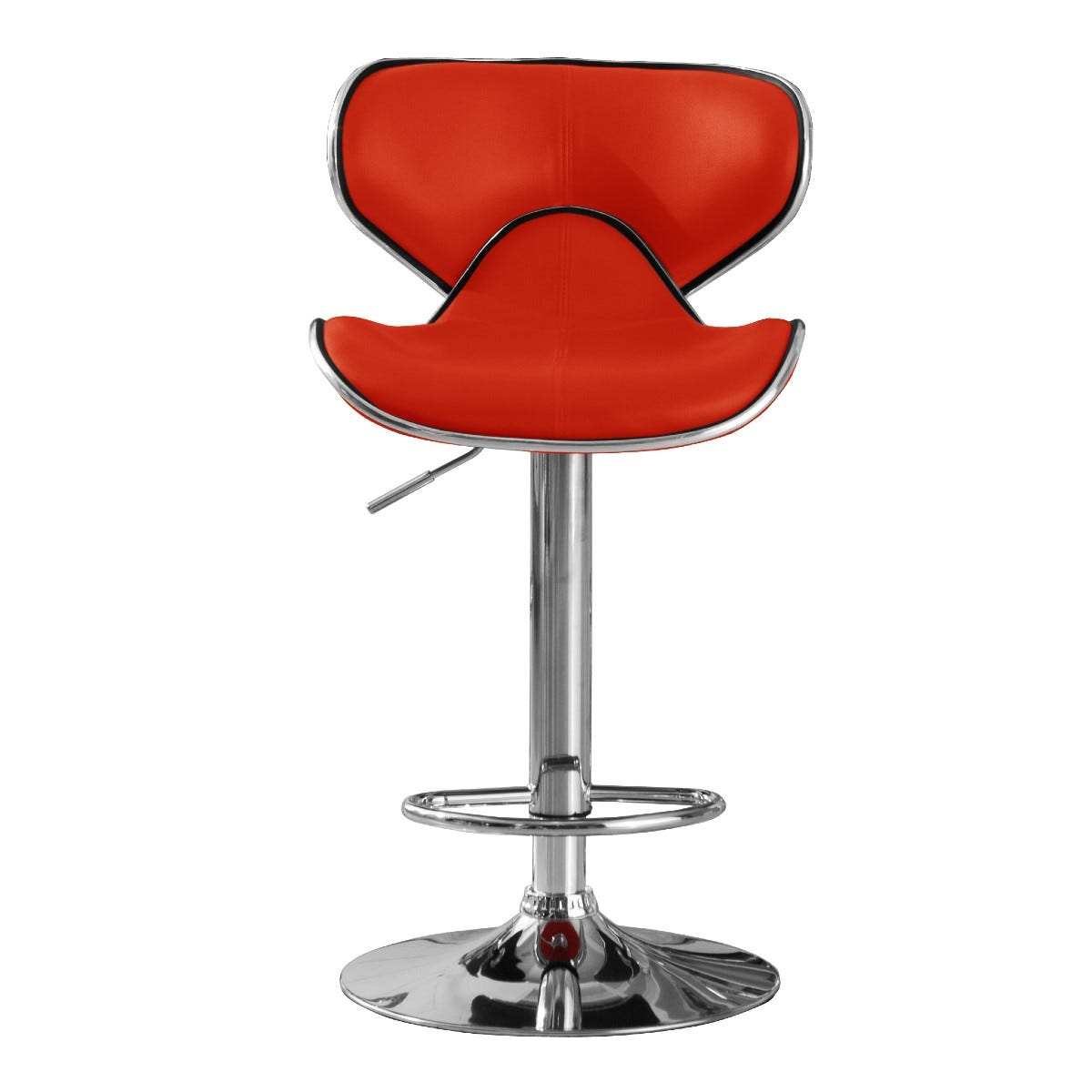 Hillside Adjustable Height Bar Stool Pair Chrome and Red