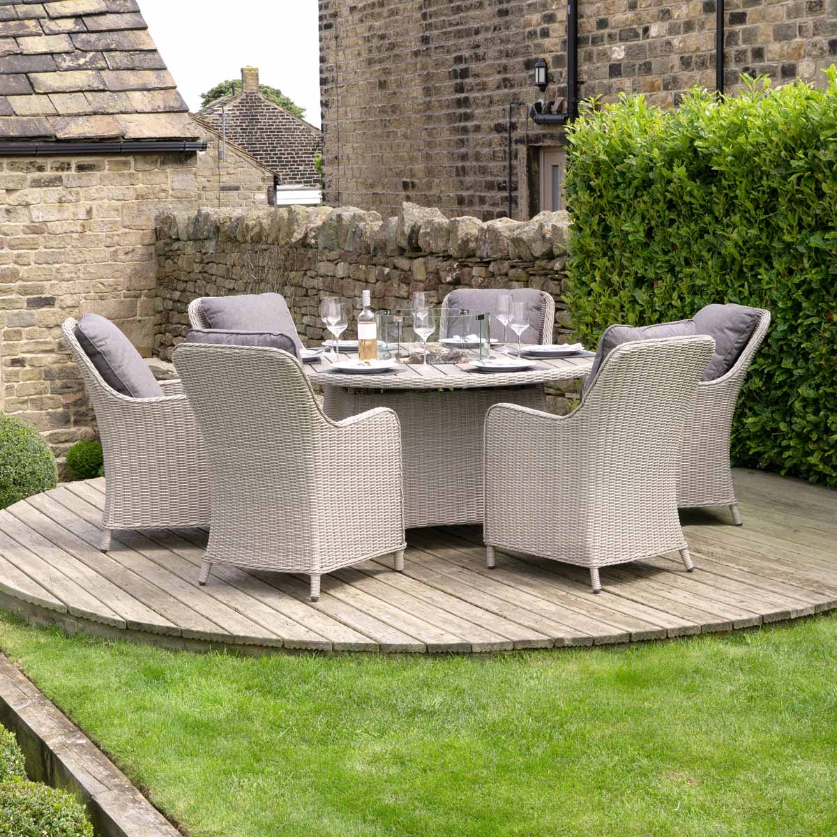 Pacific Lifestyle Antigua 6 Seater Round Dining Set with Fire Pit - Stone Grey