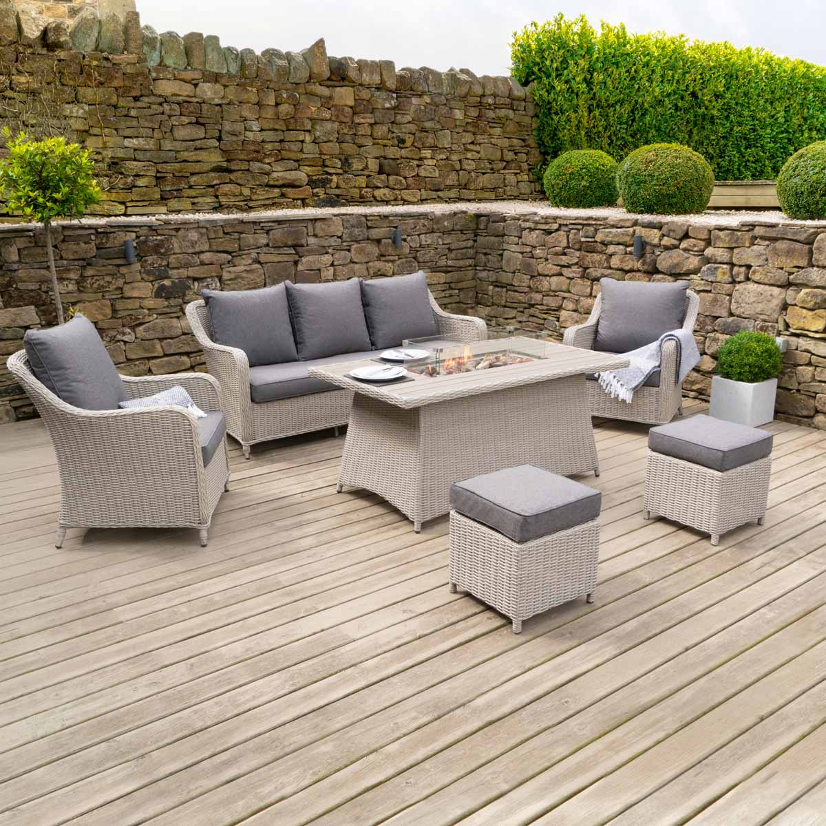 Pacific Lifestyle Antigua Seating Set with Relaxed Dining Fire Pit Table - Stone Grey