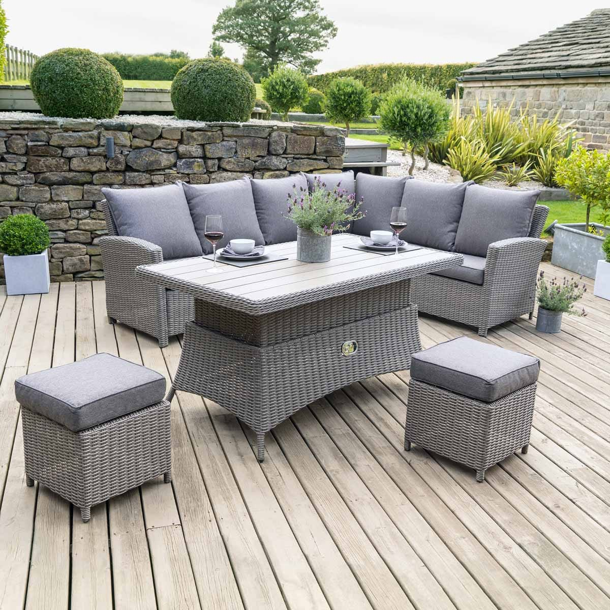 Pacific Lifestyle Barbados Relaxed Dining Corner Set with Adjustable Table - Slate Grey