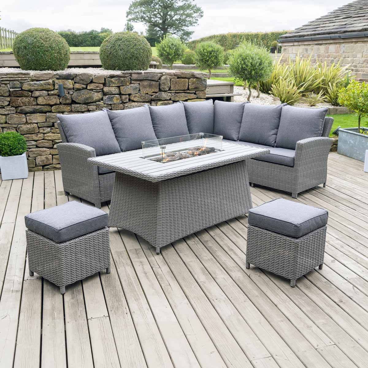 Pacific Lifestyle Barbados Relaxed Dining Corner Set with Fire Pit Table - Slate Grey