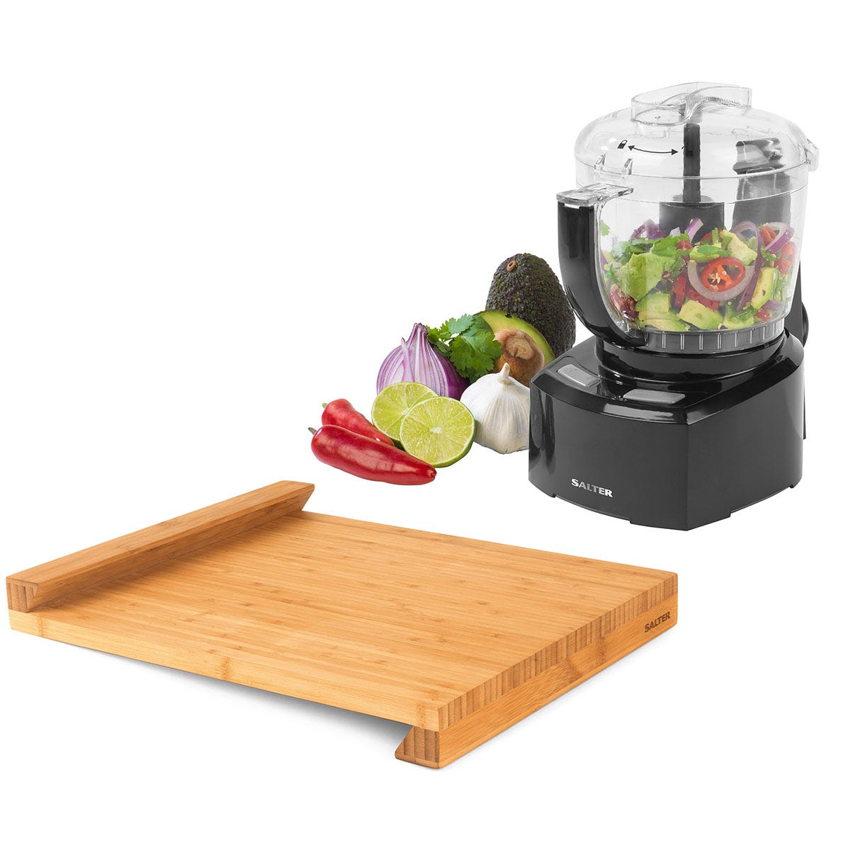 Salter COMBO-7064 8-in-1 Compact Prep Pro Mini Food Processor and Bamboo Worktop Chopping Board with Lip - Black