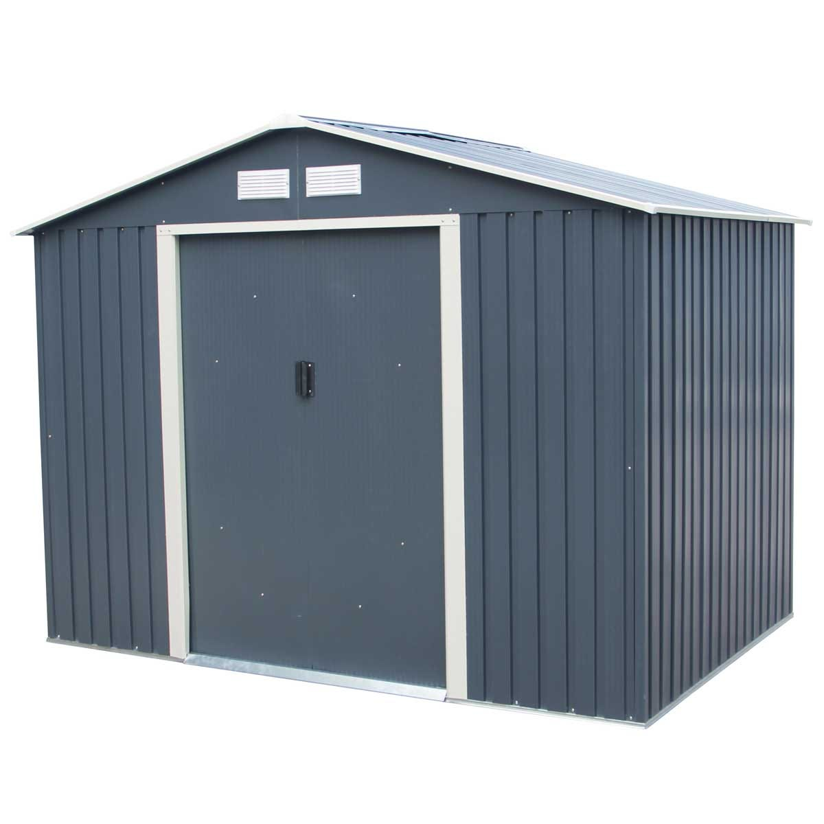 Charles Bentley 8' x 6' Metal Shed with Floor Frame - Grey