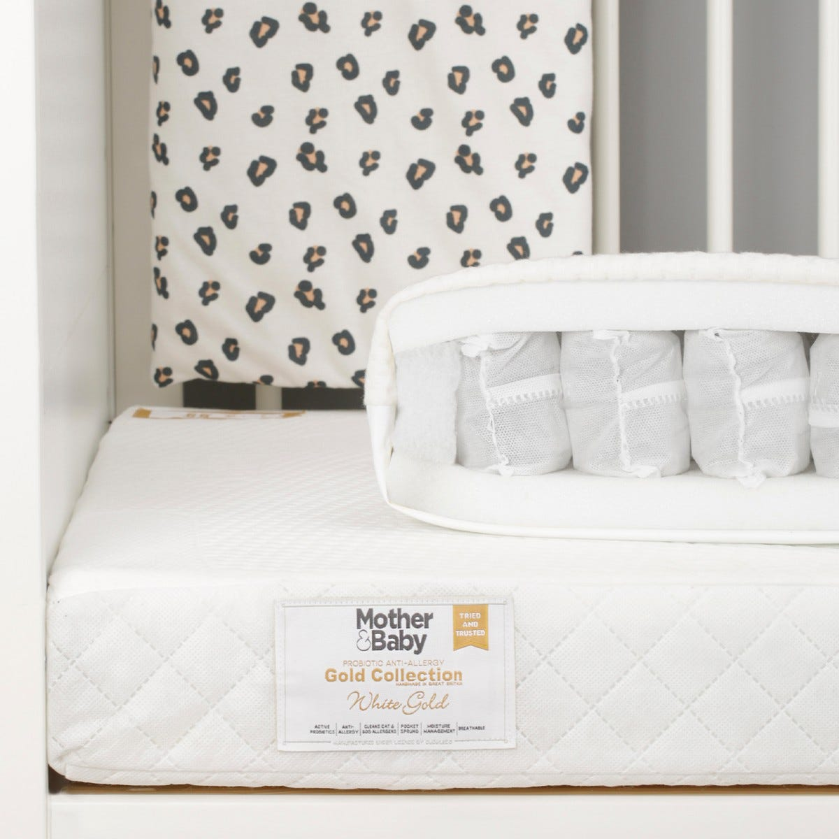 Mother&Baby White Gold Anti Allergy Pocket Sprung Cot bed Mattress