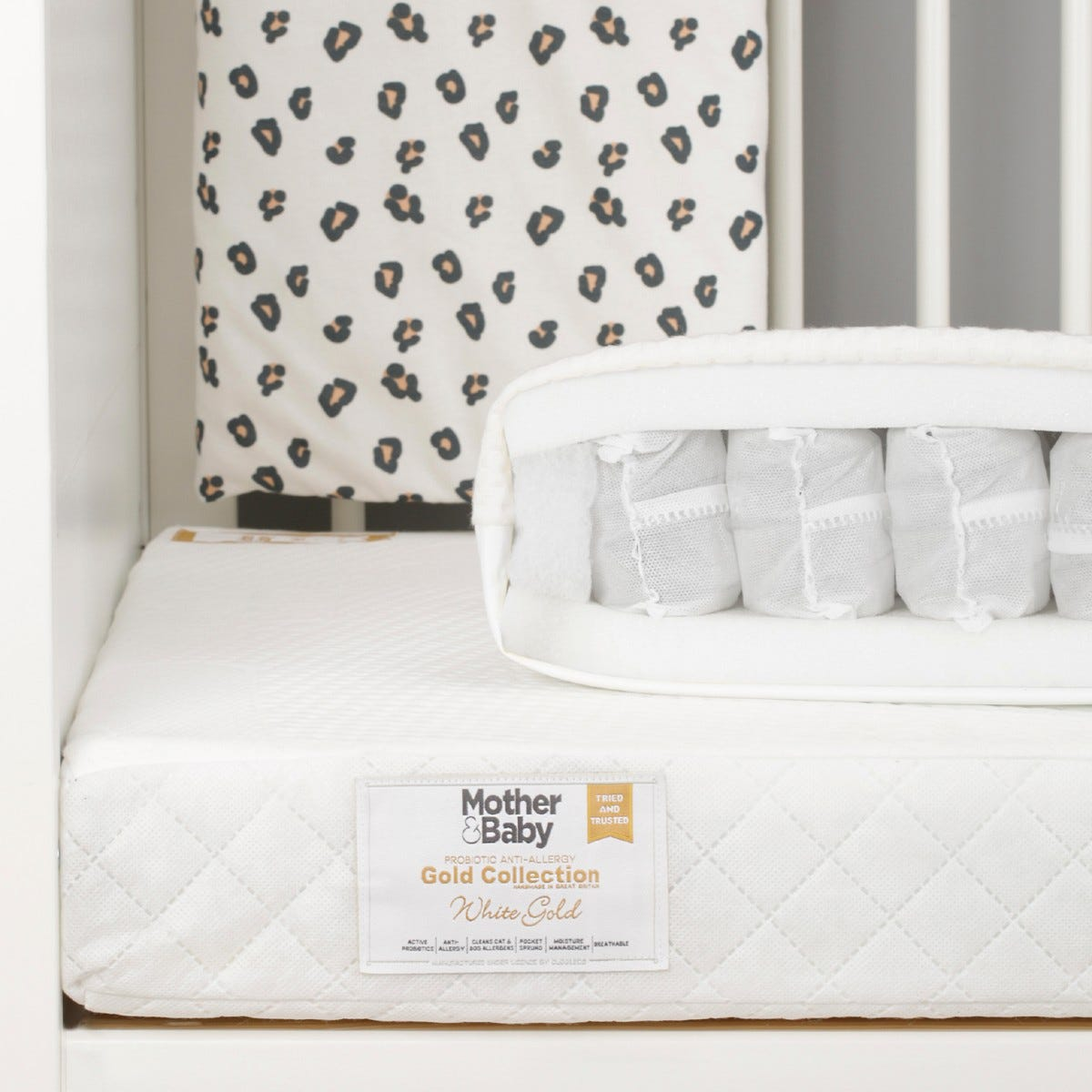 Mother&Baby White Gold Anti Allergy Pocket Sprung Cot Mattress
