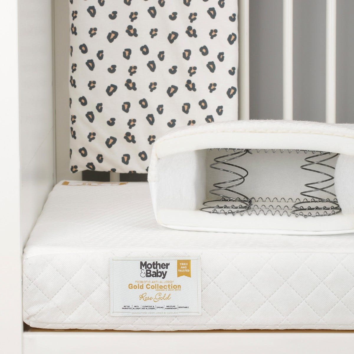 Mother&Baby Rose Gold Anti Allergy Sprung Cot Bed Mattress