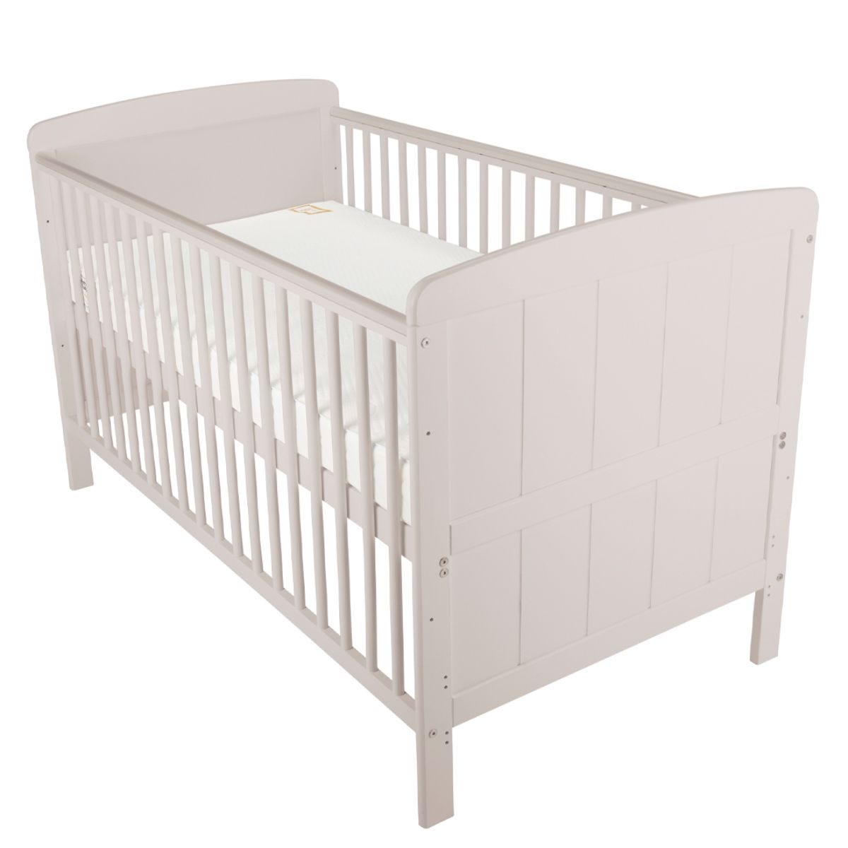 CuddleCo Juliet Cot Bed with Mother & Baby First Gold Foam Mattress Dove Grey