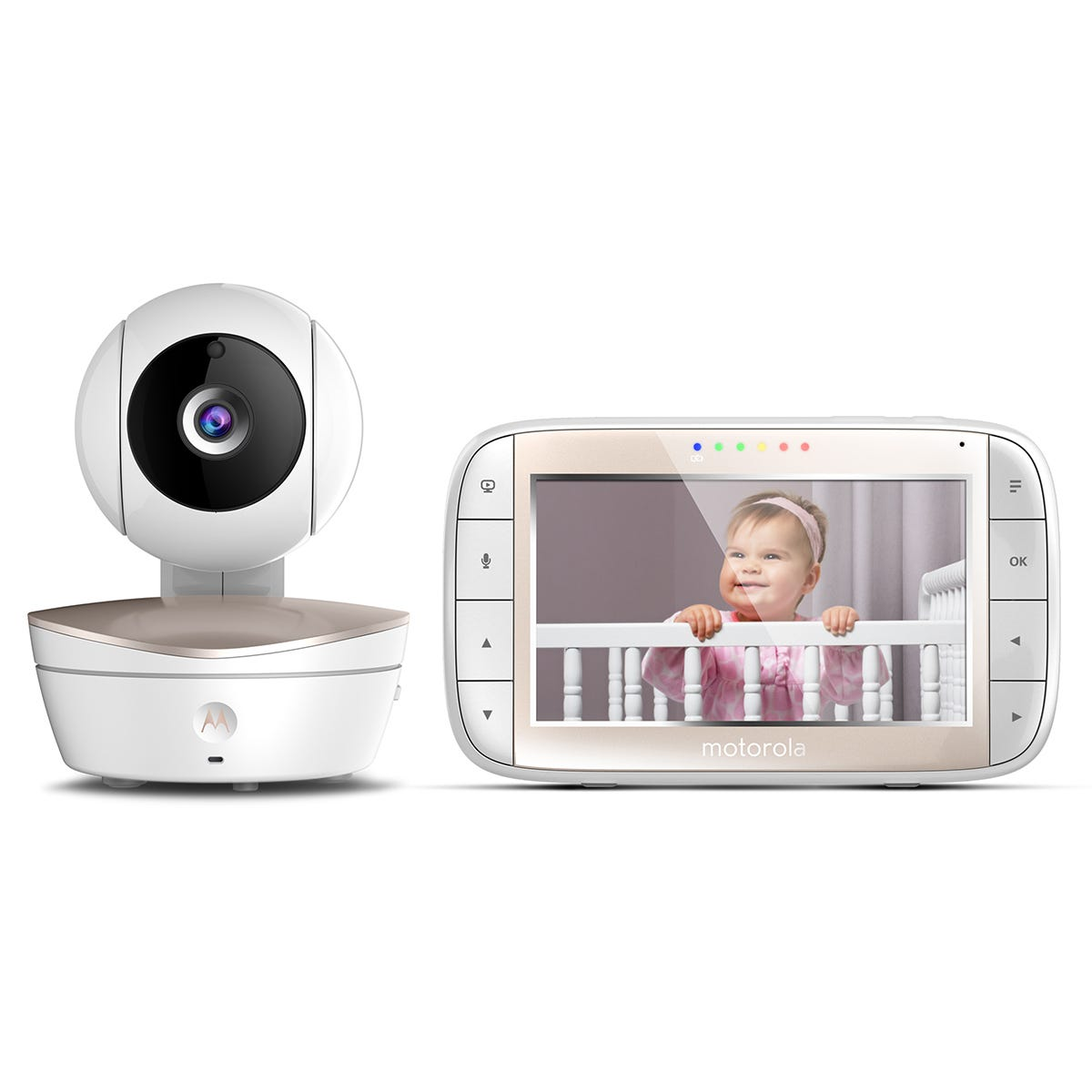 Motorola MBP49 Baby Monitor with 5 Inch Colour LCD Display Parent Unit, Room Temperature Monitoring, Infared Night Vision & Lullaby Player - White