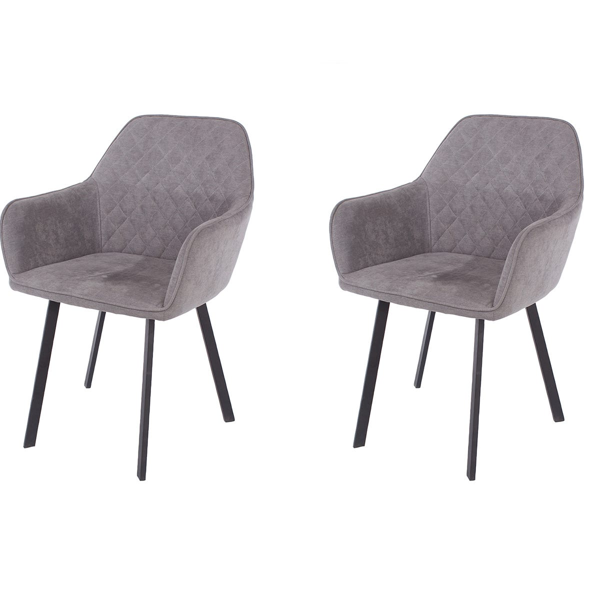 Aspen Grey Fabric Upholstered Armchairs With Black Metal Legs (Pair)