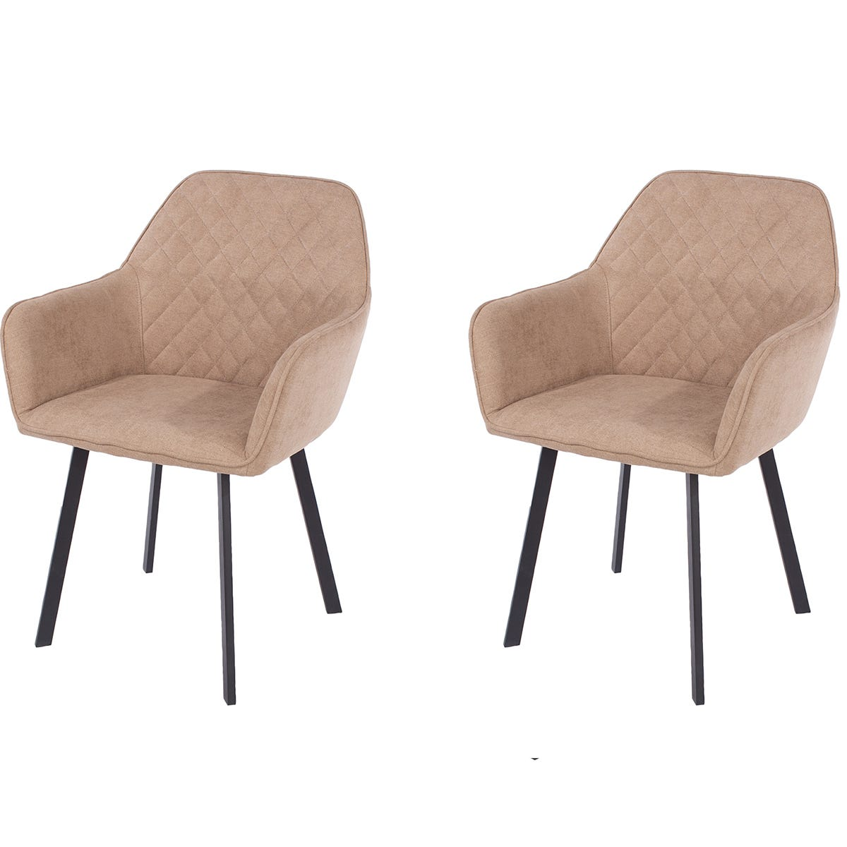 Aspen Sand Fabric Upholstered Armchairs With Black Metal Legs (Pair)