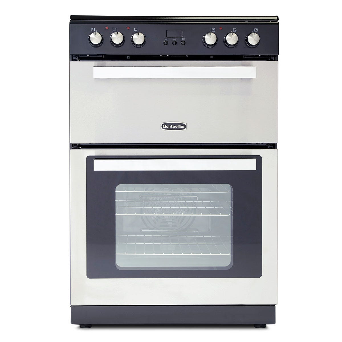 Montpellier RMC61CX 60cm Ceramic Mini Range Cooker with Double Oven - Stainless Steel