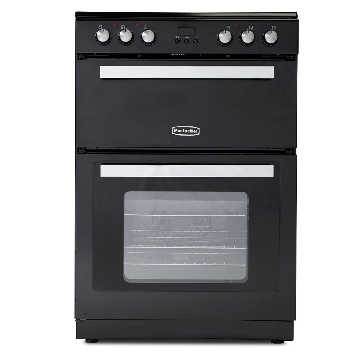 Montpellier RMC61CK 60cm Ceramic Mini Range Cooker with Double Oven - Black