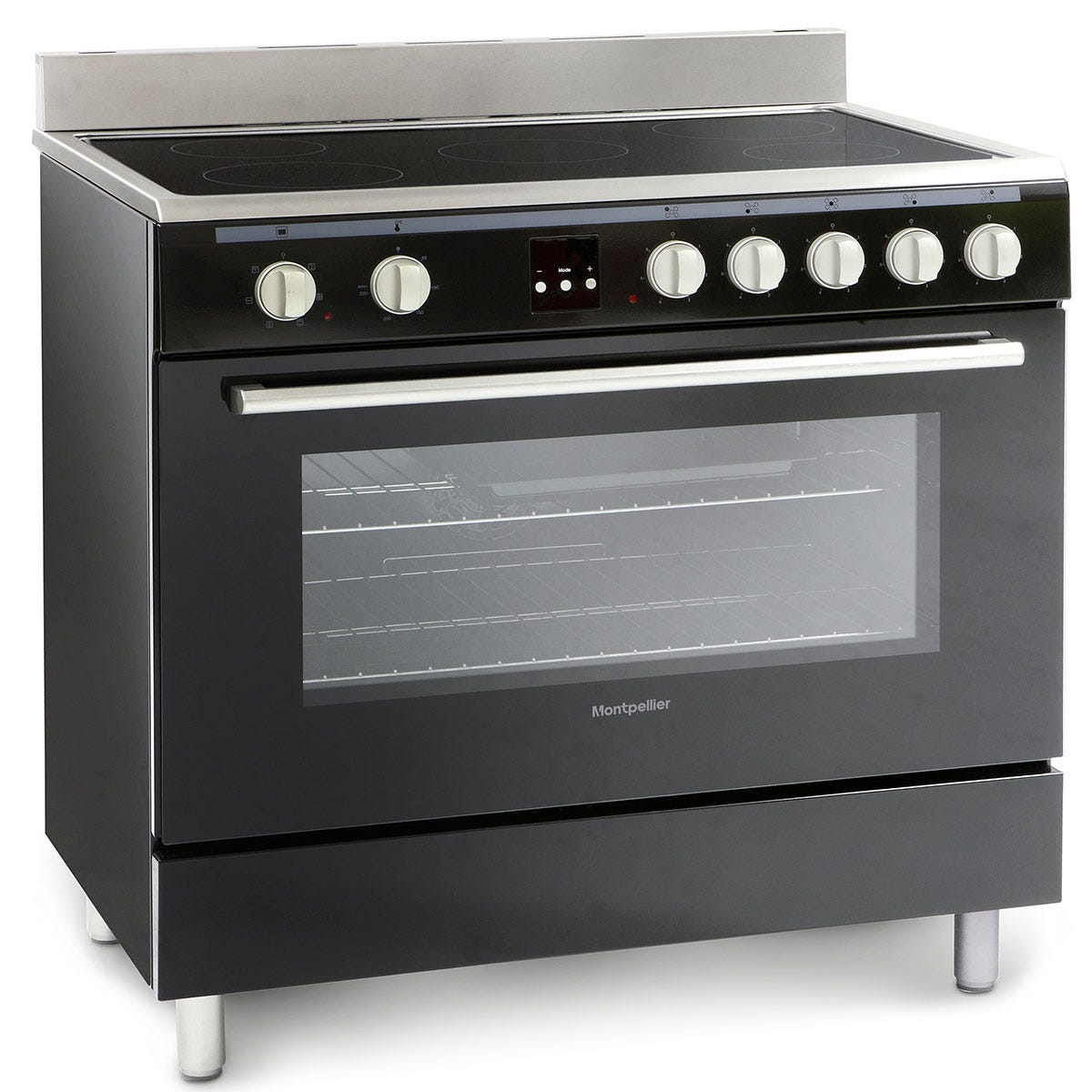 Montpellier MR90CEMK 90cm Ceramic Range Cooker - Black