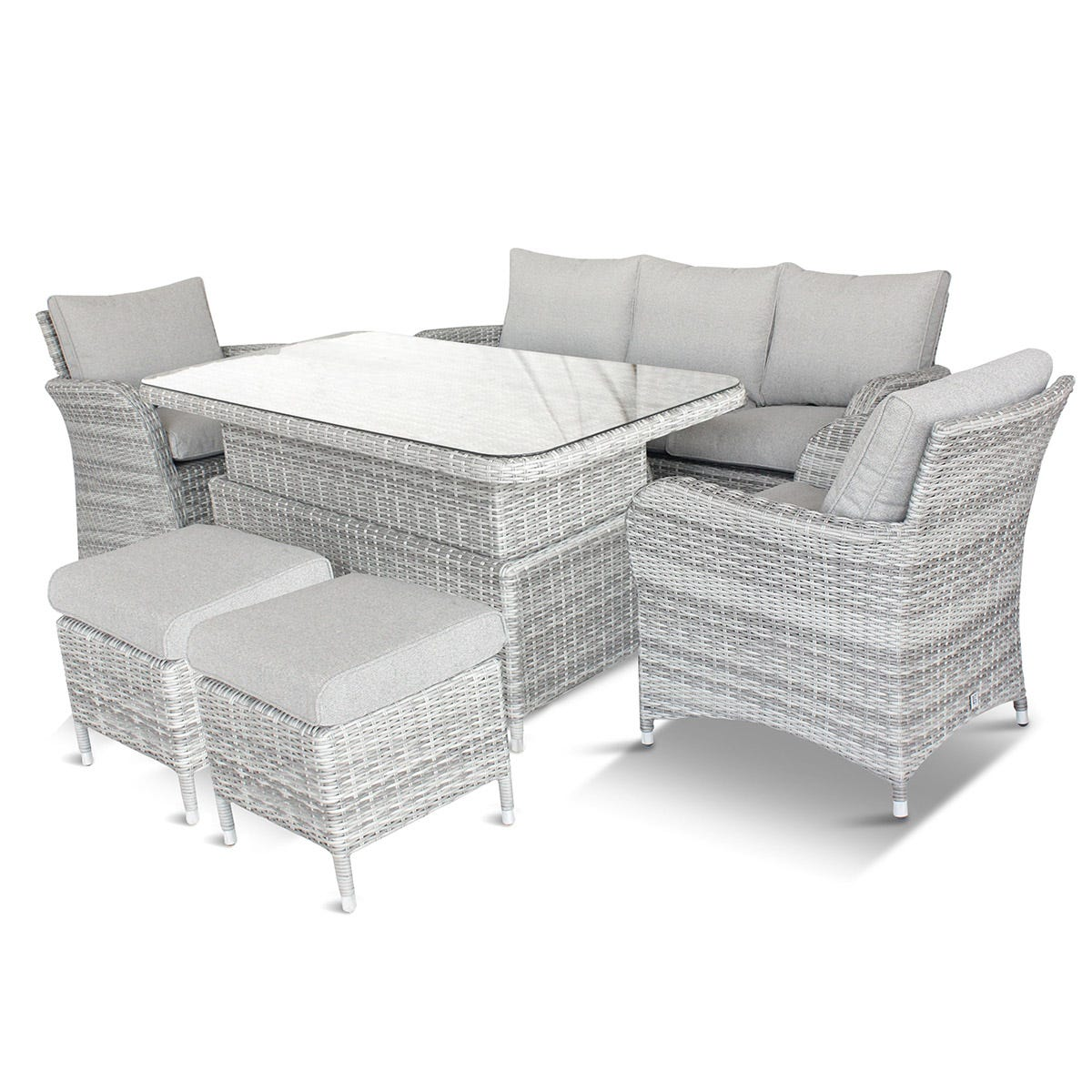 LG Outdoor Monaco Stone Lounge Dining Set with Adjustable Table
