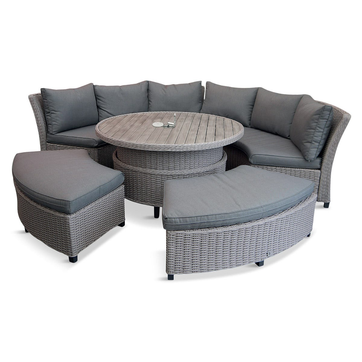 LG Outdoor Oslo Curved Dining Modular Set with Crank Adjustable Table