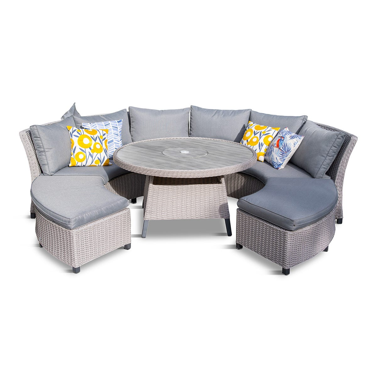 LG Outdoor Oslo Curved Dining Modular Set with Charcoal Firepit/Ice Bucket Table