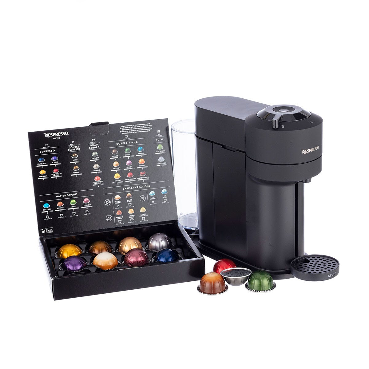 Krups XN910N40 Nespresso Vertuo Next Coffee Machine, Black - 12 x coffee capsules free when you buy this product
