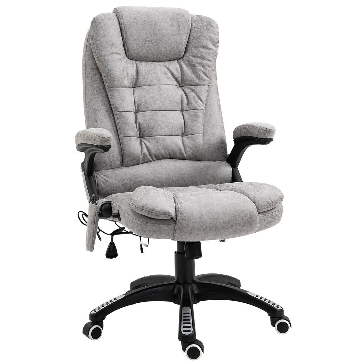 Solstice Daphne PU Leather Heated Massage Office Chair - Grey