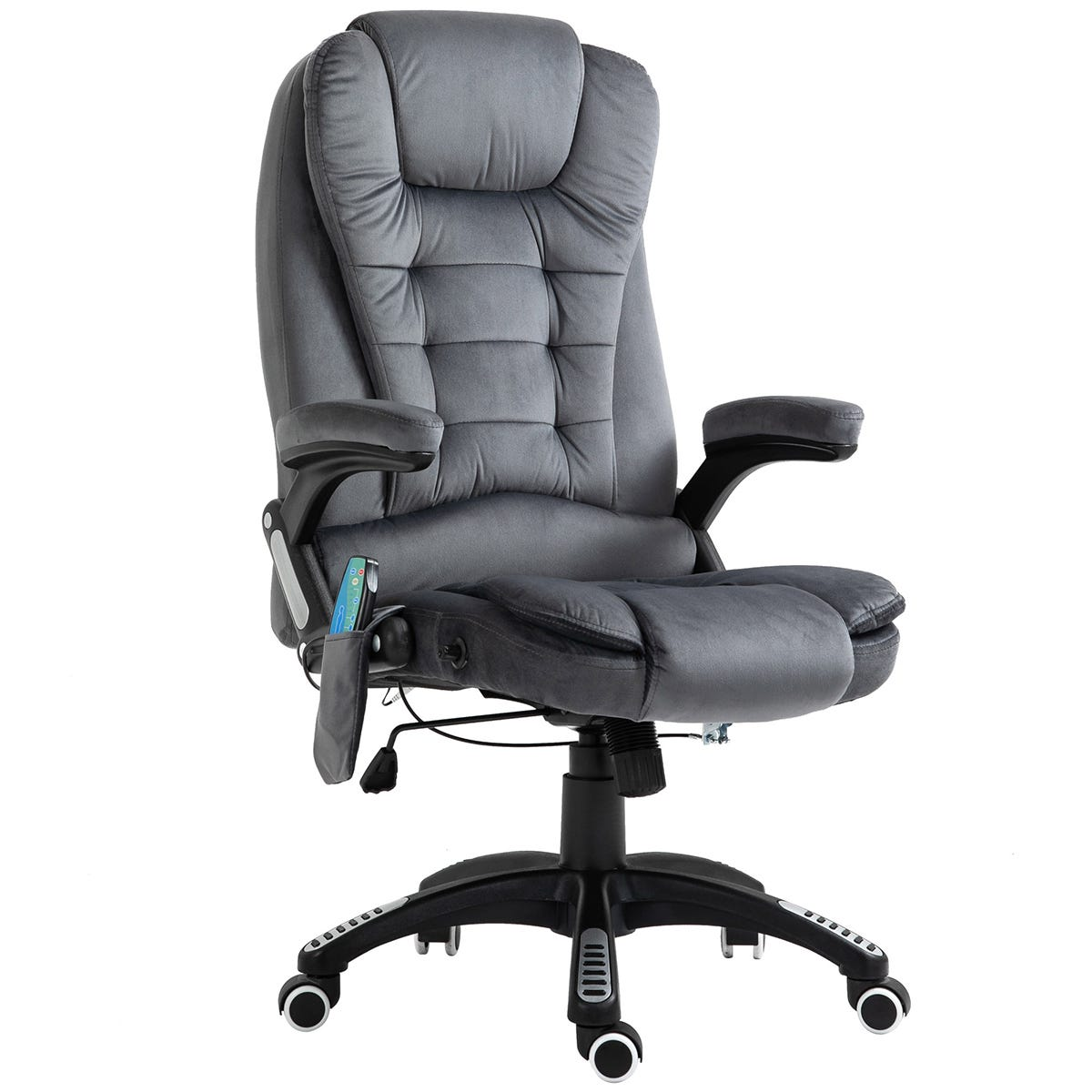Solstice Daphne Faux Velvet Heated Massage Office Chair - Grey