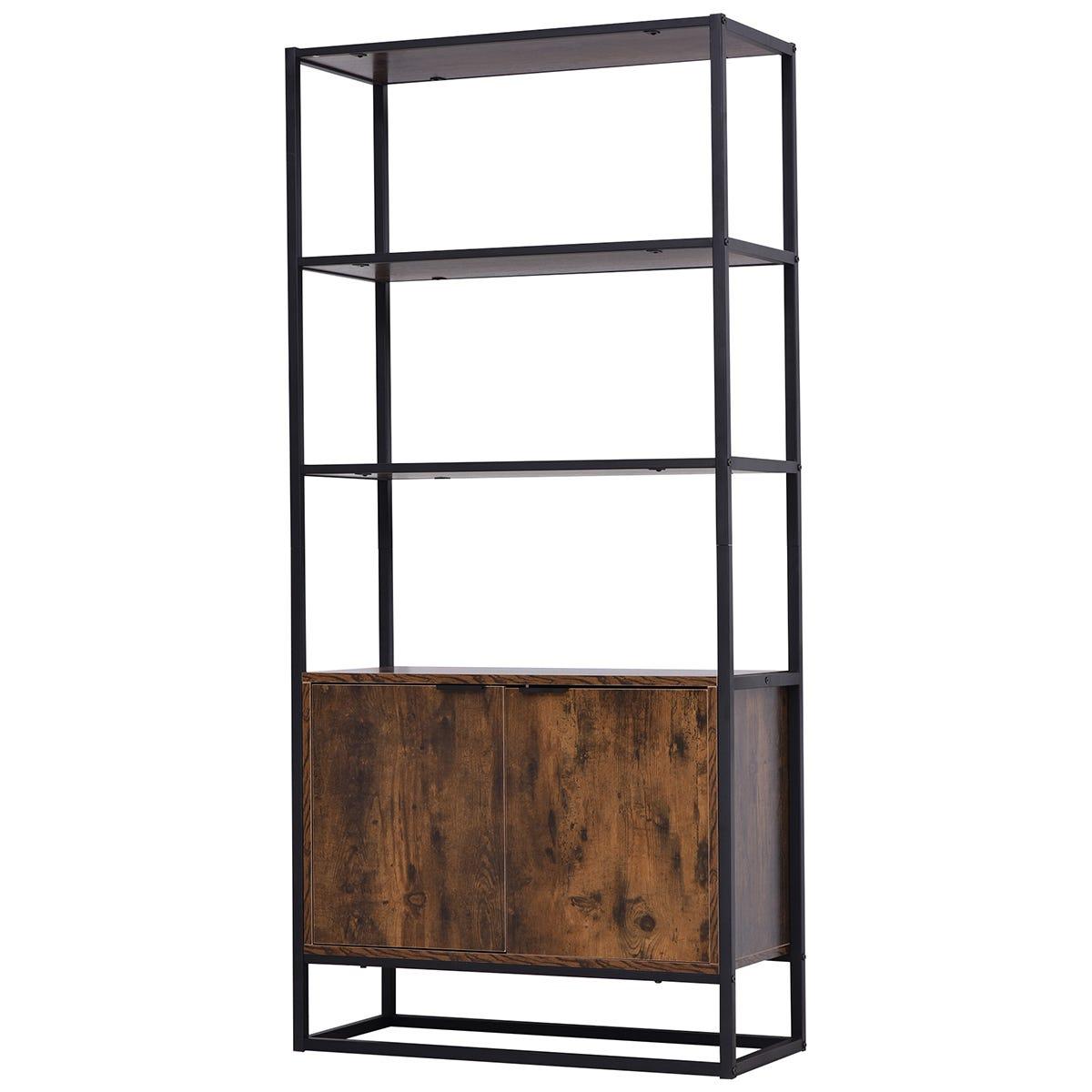 Solstice Echelon 4 Tier Display Shelf Cabinet - Brown/Black