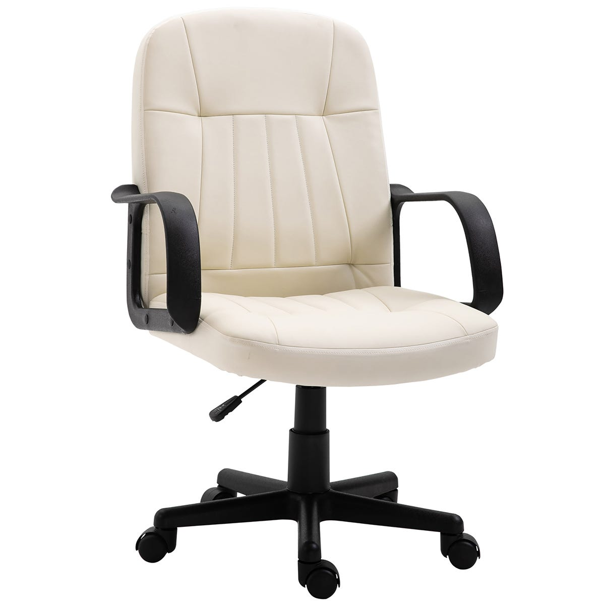 Zennor Mondo PU Leather Low Back Office Chair - Cream