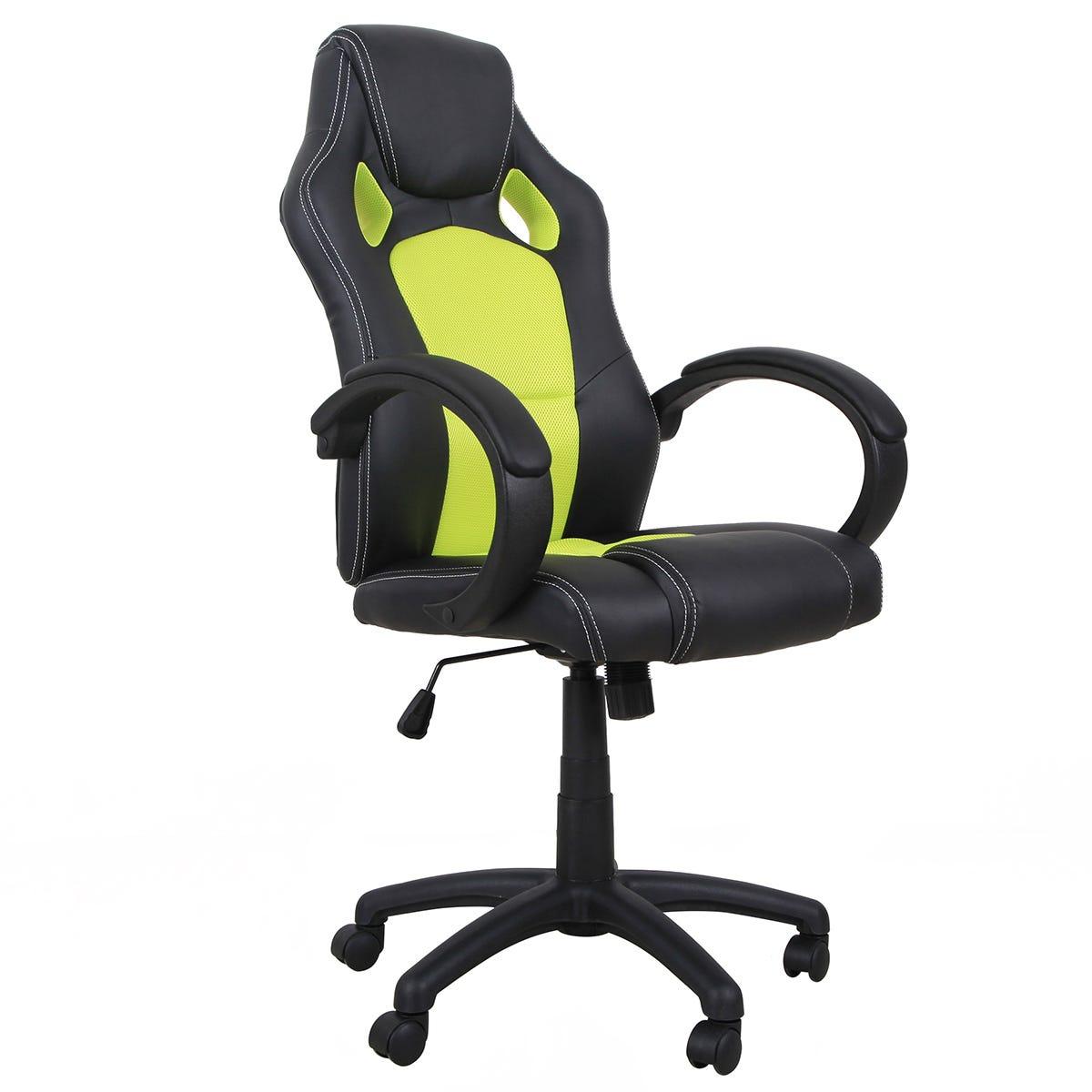 Equinox Bolt PU Leather Gaming Chair - Black/Green