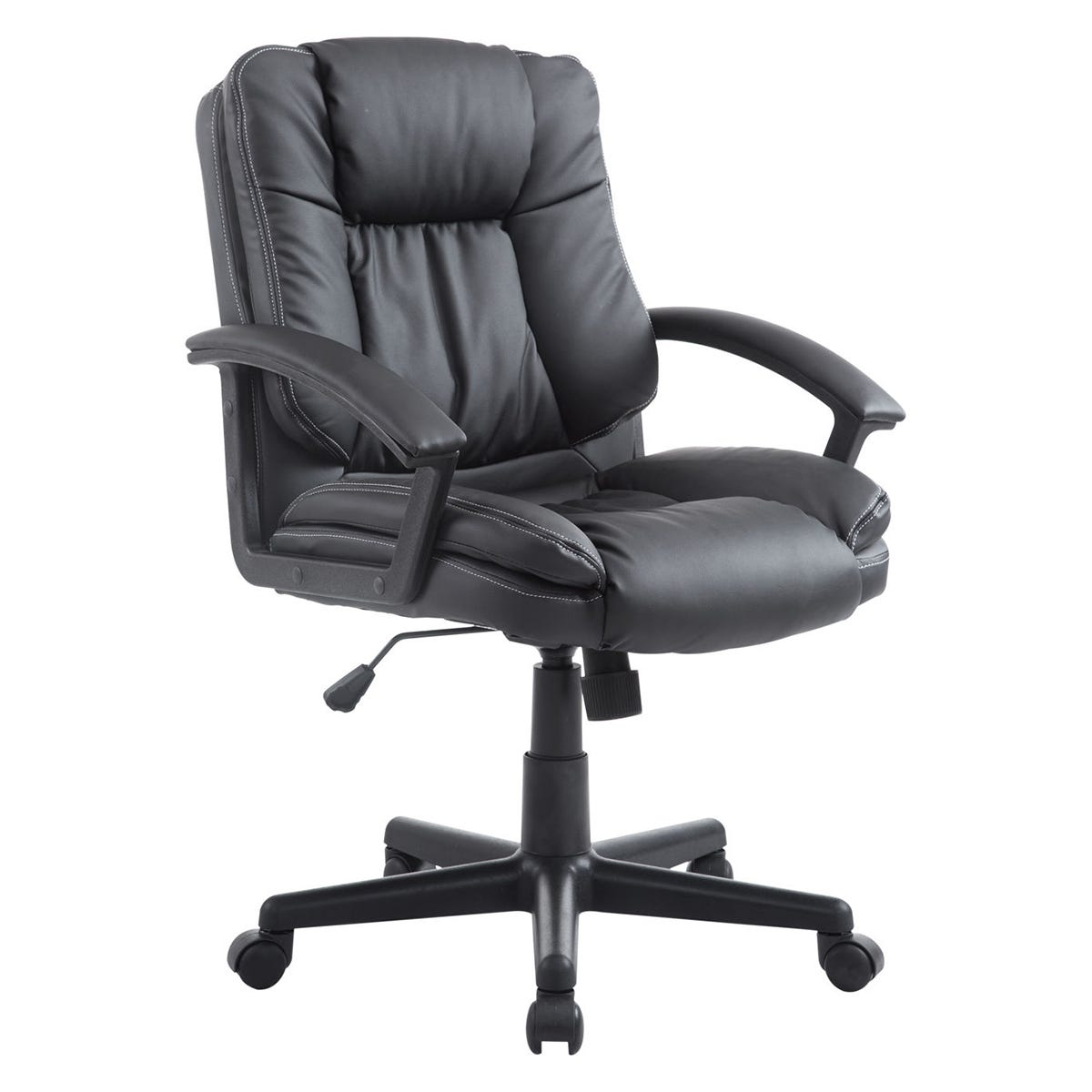 Zennor Mugo PU Leather Low Back Office Chair - Black