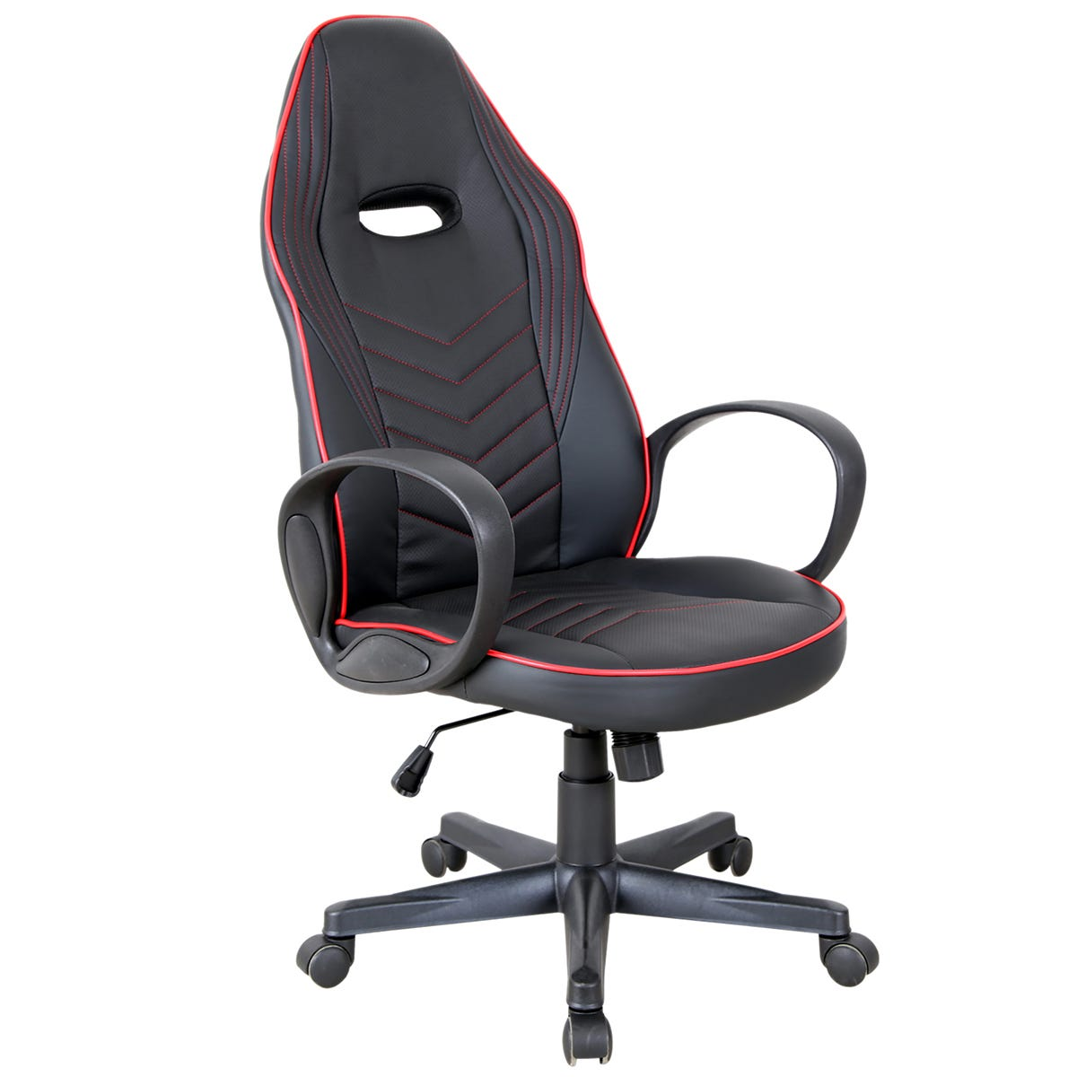 Equinox Pursuit PU Leather Gaming Chair - Black/Red