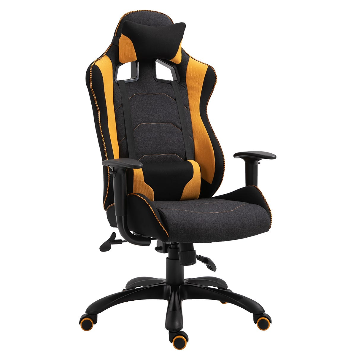Equinox Excalibur 1 Fabric Gaming Chair with Adjustable Cushion - Yellow/Black